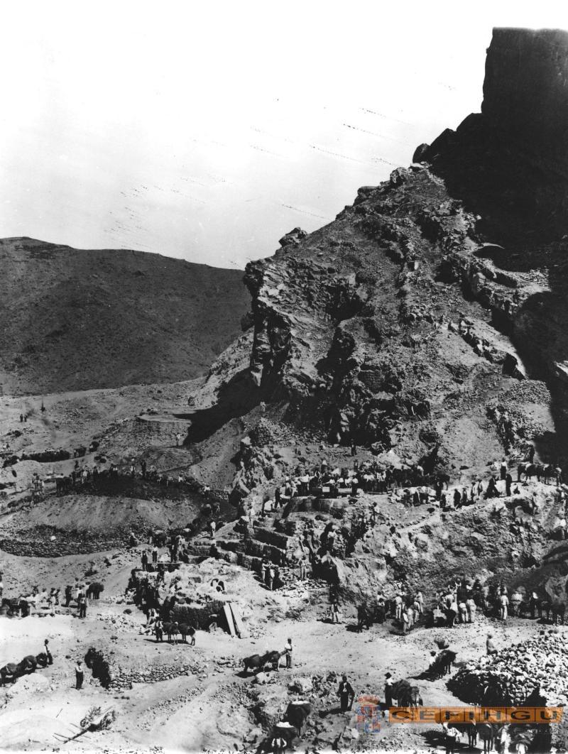 Trabajos preparatorios para la construcción del la presa del Pontón de la Oliva