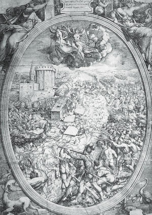 El ejercito del emperador Carlos V cruzando el Elba cerca de Mühlberg - Estampa diseñada por Enea Vico y grabada por G. B. Mantuano